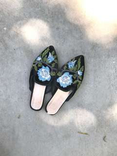 Embroidery mules
