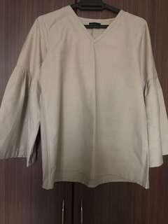 Summer Shop Flared Sleeve Grey Blouse