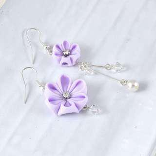 🚚 Flower dangle earrings in purple with crystals and pearls, mismatched flower earrings, wedding flower pearl earrings, bridal drop earrings