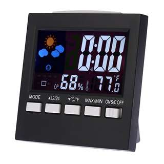 IV Colorful LCD Digital Thermometer Hygrometer weather station Tester Clock