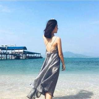 🚚 春夏必備 交叉美背海灘洋裝 婚禮洋裝 謝師宴 禮服 長洋裝
