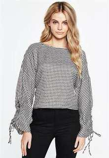 New Long Sleeve Gingham Top - Bardot