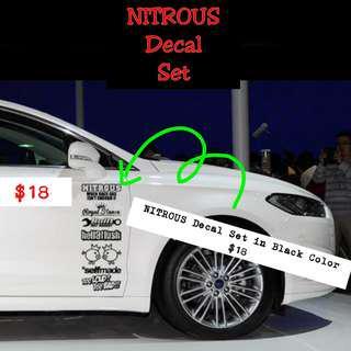 🚚 Car Decal Set NITROUS (Black)