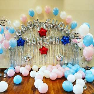 Baby shower balloon backdrop