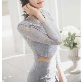 Grey laced dress (set)