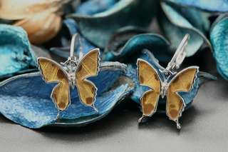 Navia Jewelry - Real Butterfly Wing Urania ripheus Silver Earrings Korea