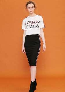 BNWOT VALLEYGIRL Bora Bodycon Stripe Skirt