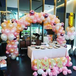 Custom organic balloons birthday celebration