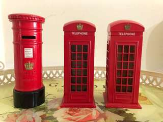 Piggy banks (mini telephone booth & postbox)