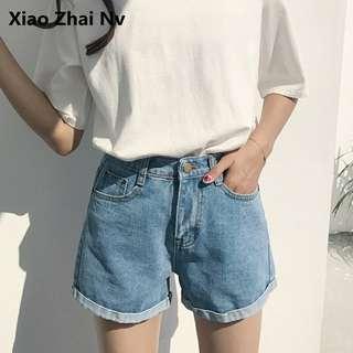 🚚 韓系摺邊短褲✨淺藍
