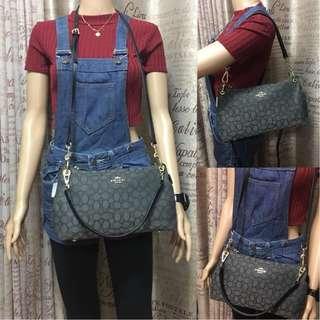 Authentic Quality Coach Bag 2 in 1 Sling Bag Shoulder Bag Crossbody Bag in Jacquard Kelsey Bag Hobo Bag Women's Bag (Black)