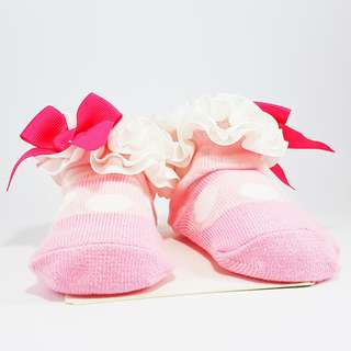 Carter's Baby Booties- Pink Polka Dot Mary Janes with Ribbon