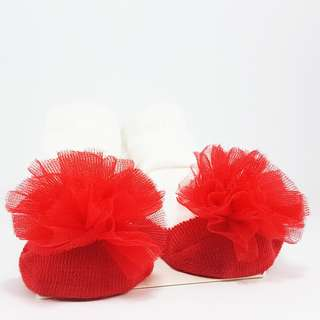 Carter's Baby Booties- Red Ballerinas with Tulle Puff