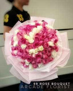 Shocking pink and white 99 rose bouquet