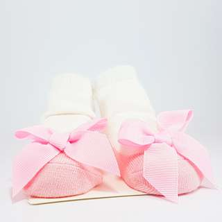Carter's Baby Booties- Pink Ballerinas with Ribbon