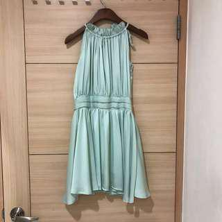 二手韓貨 削肩超好看湖水綠洋裝