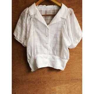 日牌🇯🇵復古澎袖短版造型襯衫