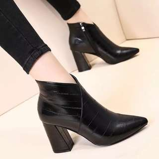 Leather pointed stylish ankle boots