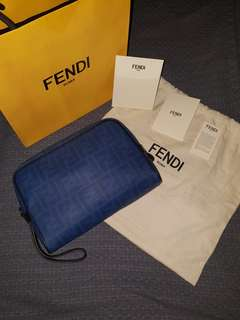 FENDI laminated canvas pouch