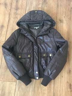 Brown Winter Puffer Bomber Jacket Size 8