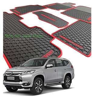Montero Sport 2016 to 2018 Premium Rubber Floor Matting Anti-Slip (Red Lining)