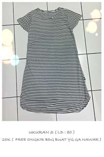 Dress kaos salur garis