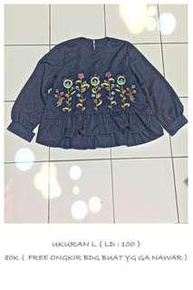 Blouse Navy Bordir embroidery