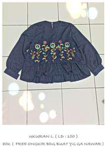 Blouse Navy Bordir embroidery