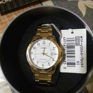 brand new authentic CASIO Mens Watch Gold Stainless Steel