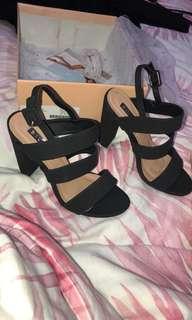 """Lahnee"" black nubuck heels"
