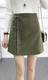 Lace up skirt army