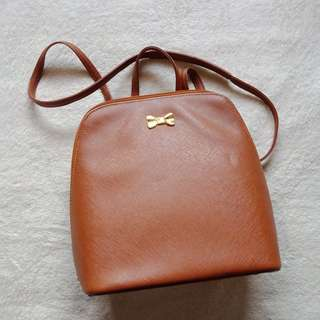 Brown Mini Leather Vintage Minimalist Backpack with Gold Ribbon