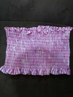 Ruffled Pink & White Crop Top