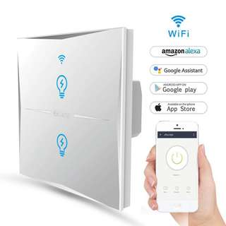 1092. Smart Light Switch,WIFI Light Switches Wall Work With Amazon Alexa And Google Home,Tempered Glass Touch-Screen,Wireless Remote,Timing Function,Overload Protection,No Hub Required(Switch 2 Gang)