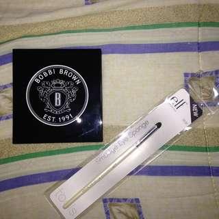 EYE MAKEUP BUNDLE: Bobbi Brown 4-Pan Palette w/ Aegean Blue, Bone, Chocolate Caviar, & Balsam + e.l.f. Smudge Eye Sponge
