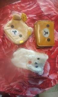 Rilakkuma cute furry accessory LOT of 3 phone case wallet coin purse