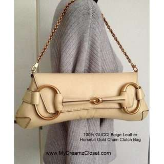 100% GUCCI Beige Leather Horsebit Gold Chain Clutch Bag