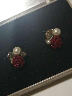 Rose and Pearl Earrings