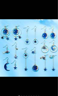 moon and stars earrings galaxy earrings korean style