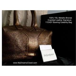 100% YSL Metallic Bronze Crackled Leather Signature Y EASY Bowling Celebrity Bag