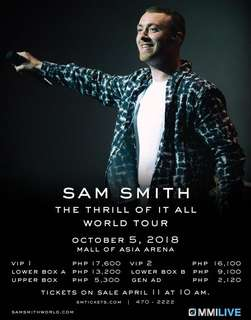 SAM SMITH: The Thrill of it all World Tour