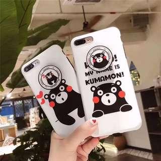 熊本熊 Iphone 黑邊軟殻➕超方便可拆氣墊支架💓