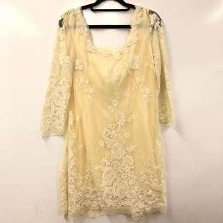 Anna Sui cream white lace dress size 0