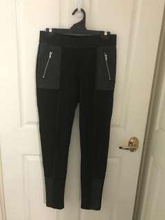 H&M faux leather quilted panel zip leggings