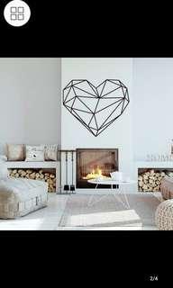 ✔Instock Nordic Ins Geometric Love Heart Geometric Line Pattern Wall Sticker PVC Creative Decorative ⭕SIZE W57x49cm