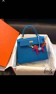 Kelly 25 Blue Zanzibar  Goatskin leather  Gold buckle  外縫
