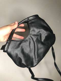 Soft black PU leather long strap hand bag