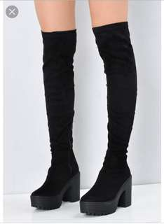 Chunky thigh high boots