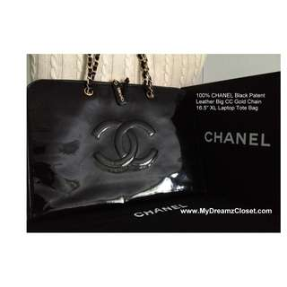 "100% CHANEL Black Patent Leather Big CC Gold Chain 16.5"" XL Laptop Tote Bag"