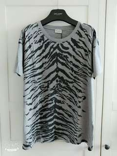 Saint Laurent Paris YSL  灰色虎紋t-shirt Size L